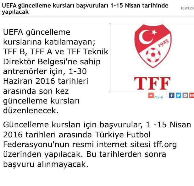 UEFA güncelleme kursları başvuruları 1-15 Nisan tarihinde yapılacak